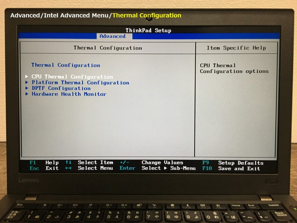 X270 Thermal Config