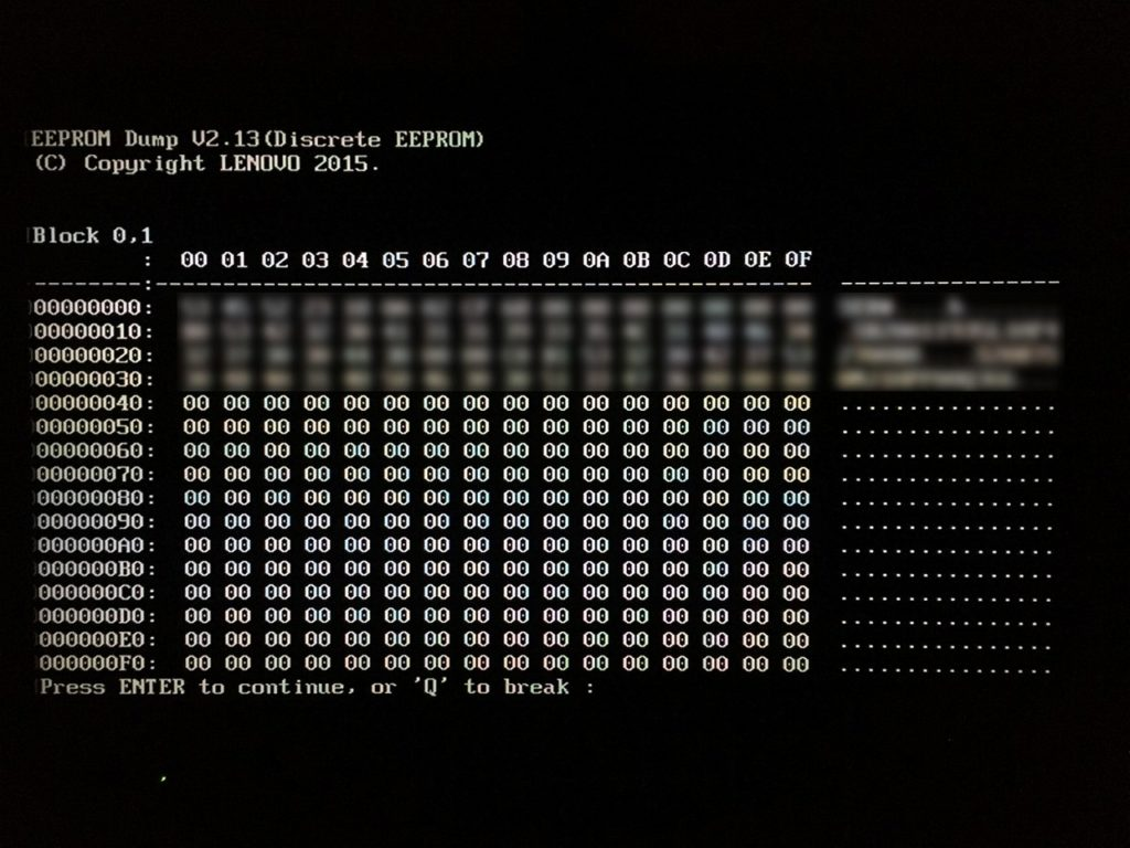 Dump EEPROM 画面