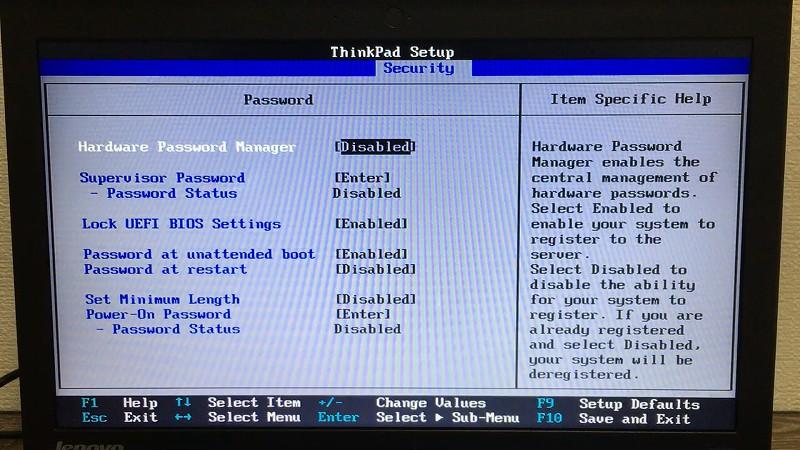 BIOS Security 画面(SVP解除後)