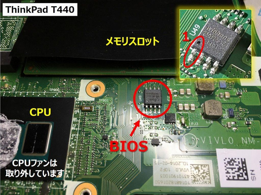T440のBIOS位置詳細画像