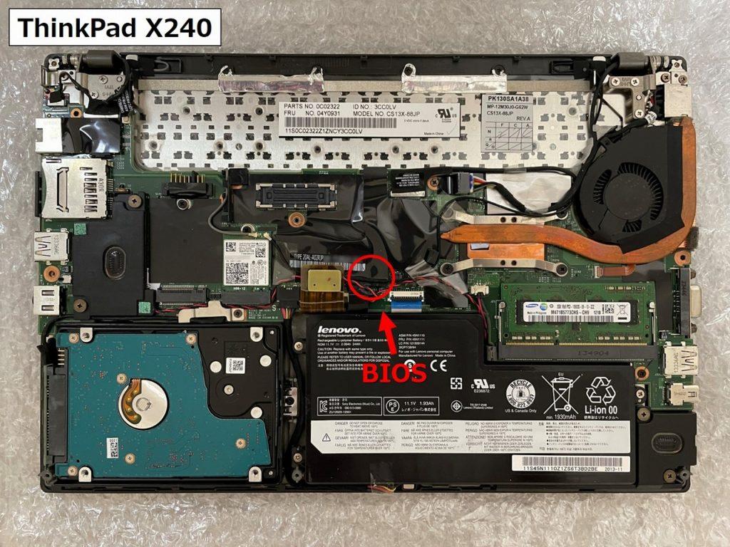 X240のBIOS位置画像