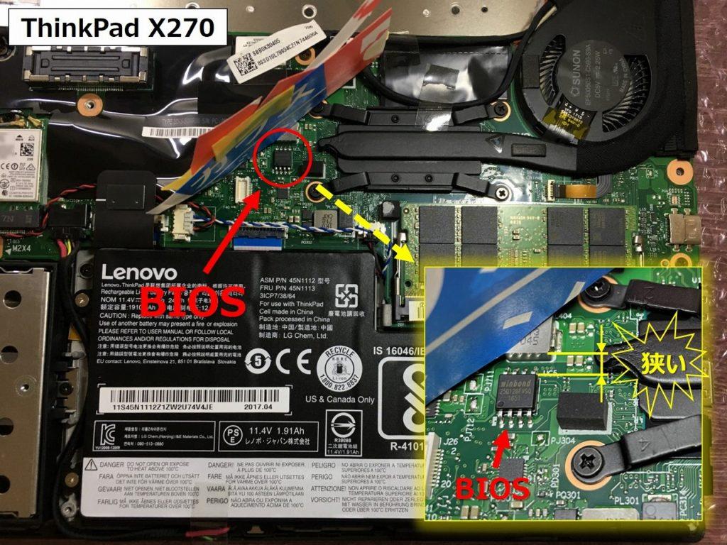 X270のBIOS位置詳細画像